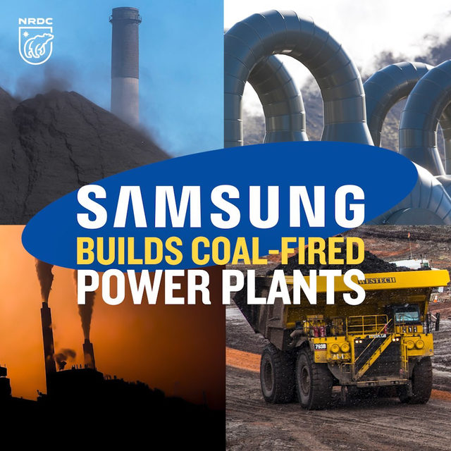 "As a global leader in electronics, Samsung should be blazing a trail towards a clean energy revolution. But it's still building coal plants and financing coal projects that harm communities and the climate. Visit the link in our bio to tell Samsung that you are boycotting their products until the company closes the loopholes in its ""coal exit"" policies and fully divests from coal projects worldwide. #publichealth #health #coal #fossilfuels #samsung #climate #climatechange"
