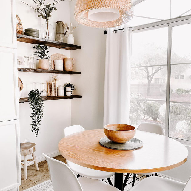 Transform an empty wall into chic storage space with floating shelves. (📷 submitted by @home.and.spirit)