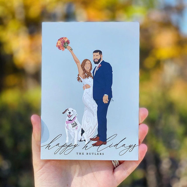 """When you're merry and married this holiday season, why not send a card that shows both! #MintedWeddingsTip: As a holiday twist, add a custom illustration in place of your photo!  __ """"Christmas Letter"""" Holiday Card by #MintedArtist Annie Mertlich of @wildfieldpaperco  Photo: @lifewithashal  . . . . . #holidaycards #holidays #weddinginspiration #weddingdetails #weddingphotography #weddingplanning #weddingflatlay #justengaged #thatsdarling #theknot #sayido #howtheyasked #marthaweddings #foilinvitations #foil #foilpressed #fallwedding #winterwedding #destinationwedding #design"""