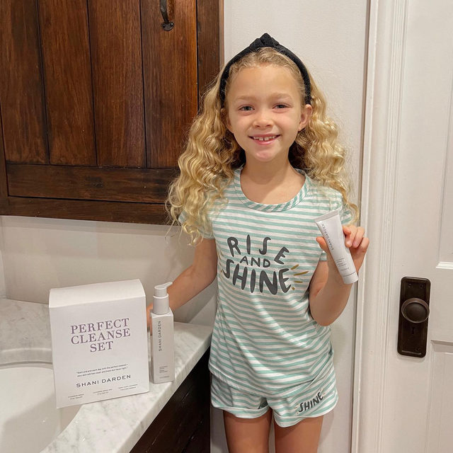 Give the gift that's great for everyone, a perfect cleanse! ✨💦 Even for little Lenny! ❤️ ⠀⠀⠀⠀⠀⠀⠀⠀⠀ My new Perfect Cleanse Set includes both a full-size and travel-size bottle of my Cleansing Serum, along with my favorite Terry Cloth Headband to secure your hair while cleansing! My Cleansing Serum is great for everyone, regardless of age or skin type. It's gentle on the skin, yet effective at removing dirt, makeup, and impurities. ✨  ⠀⠀⠀⠀⠀⠀⠀⠀⠀ This exclusive holiday set is now available on shanidarden.com, and currently 20% off with my sale! You can tap to shop, or click the link in my bio! ✨#SkinByShani