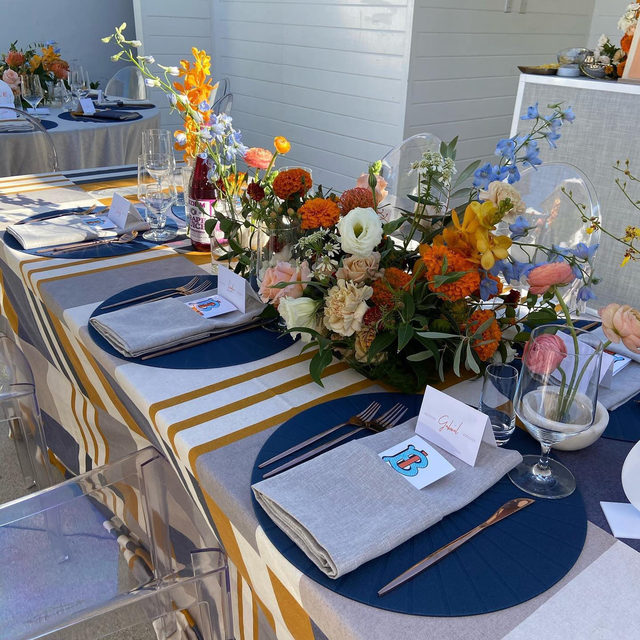 So in love with this colorful Bar Mitzvah with our #lucalinen in Butternut and #lukelinen napkins in Smoke 😍😍 Planing + Design @bychloeevents Florals @layeredvintage   #latavolalinen #transformyourtable #livecolorfully #brightcolors #eventdesign #eventstyling #barmitzvah #orangedecor #losangeles #outdoorparty #ghostchairs #modernevent #eventdecor