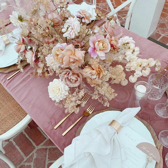 This GORGEOUS #pink table from @creativelightdesign and @florabundanceinc has us swooning 🌸🩰💕🦙So much loveliness! Featuring our #velvetlinen in Blush with #hemstitchedlinen napkins in White   #latavolalinen #transformyourtable #bbjlt #bettertogether #velvet #pinkvelvet #bridalshower #bohobride #bohostyle #bridalshowerinspo #thinkpink #prettyinpink #beverlyhills