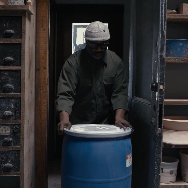 "#GagosianQuarterly: A video showing Theaster Gates in his studio as he prepares for his ongoing exhibition, ""Black Vessel,"" at Gagosian New York, was one of the most popular pieces of content this year. Shot on location in Chicago during the tumultuous weeks of protest in late spring 2020, Gates reflects on the metaphorical power of materials and process, and on the redemptive potential of art. Watch the video on IGTV or via the link in our bio. __________ #TheasterGates #Gagosian @theastergates Stills from the video ""Theaster Gates: Black Vessel"". Artwork © Theaster Gates; video: Chris Strong; video editing and postproduction: Parallax Postproduction"
