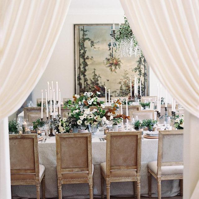 A peek inside a stunning #weddingreception with our #beatricegardenlinen in Smoke 🌫️🤍🌿🍂 These colors are so lovely! Design & Planning @hautefetes Florals @plentyofpetals Photography @kurtboomerphoto  #latavolalinen #transformyourtable #bbjlt #bettertogetherbbjlt #rustandsilver #receptiondetails #receptiondecor #tablecloth #weddingdecor #tablescape #anemone #greenandgrey #oldworldcharm #ranchosantafe