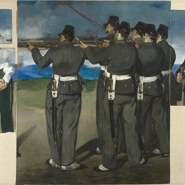 "#GagosianQuarterly: In this first installment of a two-part essay, John Elderfield tracks the oscillating states of unification and separation that Édouard Manet's ""The Execution of Maximilian"" has endured since its creation, in 1868. Read the article via the link in our bio, and keep an eye out for part two tomorrow. _________ #EdouardManet #Gagosian @nationalgallery  (1) Édouard Manet, The Execution of Maximilian, 1867–68, National Gallery, London, Bought 1918; (2) Fernand Lochard, photograph of Édouard Manet's ""The Execution of Maximilian,"" December 1883, National Gallery, London"