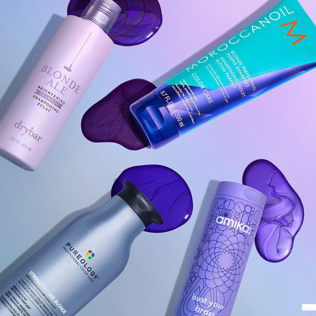 It's time to kick brass 💥…to the curb 😉 These popular purple shampoos are here to make sure blonds keep having more fun all year long 💁🏼‍♂️💁🏼‍♀️💁🏼 … @thedrybar Drybar Blonde Ale Brightening Shampoo  @moroccanoil Moroccanoil Blonde Perfecting Purple Shampoo  @pureology Pureology Strength Cure Blonde Shampoo  @amika amika Bust Your Brass Blonde Purple Shampoo