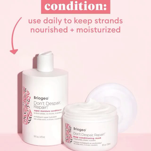 From our friends at @briogeo: Round out your healthy hair routine with our ✨NEW ✨ Don't Despair, Repair!™ Super Moisture Conditioner! This daily hydrating conditioner strengthens damaged hair + is clinically proven to decrease breakage after two uses.  To reap all the strengthening + conditioning benefits, rotate the conditioner and hair mask into your hair care regimen: ✨ Use our protein-free Super Moisture Conditioner daily (or every time you shampoo) to keep strands nourished + moisturized ✨ Use our Deep Conditioning Mask once a week for a dose of protein, strengthening damaged hair + encouraging long-term hair health  🛒 Shop now at Sephora  Don't Despair, Repair! Super Moisture Conditioner for Dry + Damaged Hair  Don't Despair, Repair! Deep Conditioning Hair Mask