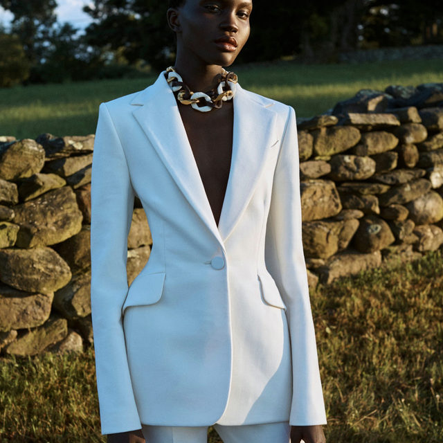 Cut a sleek silhouette in this exquisitely tailored blazer and pants, crafted in Italy from double-faced stretch wool. From our Resort 2021 lookbook, featuring @Achenrin captured by @Josholins.  Shop the collection now on www.carolinaherrera.com