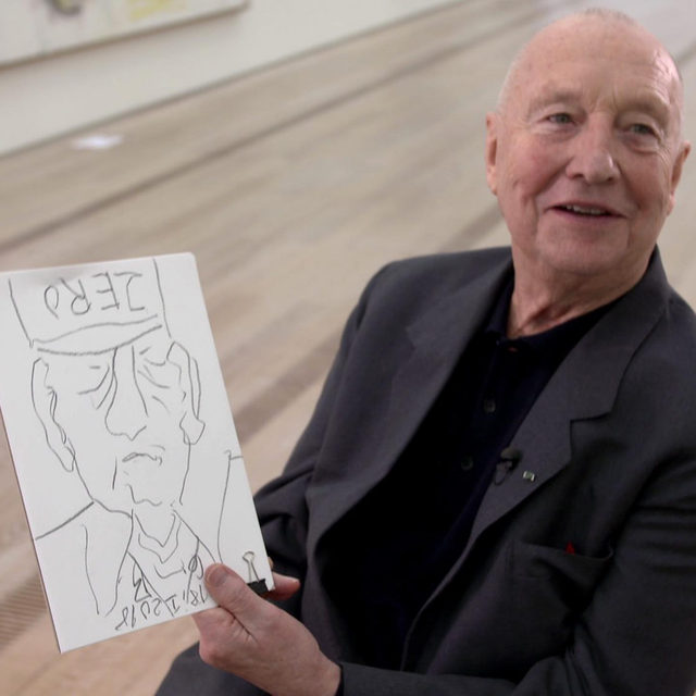 "Georg Baselitz made this self-portrait in January 2018 while filming for the ZDF cultural program ""Aspekte"". The signed pencil drawing, titled ""ZERO,"" will be auctioned by Lempertz to benefit Kunst Hilft Geben, an organization working to end homelessness in Cologne, Germany. The auction is now live and will conclude on January 31. Follow the link in our bio to bid or to learn more. __________ #GerogBaselitz @kunsthilftgeben @lempertz_1845_art (1) Georg Baselitz with ""ZERO"" (2018). Photo: Ivan Aebischer; (2) ""ZERO,"" 2018 (detail) © Georg Baselitz. Photo: Robert Oisin Cusack"