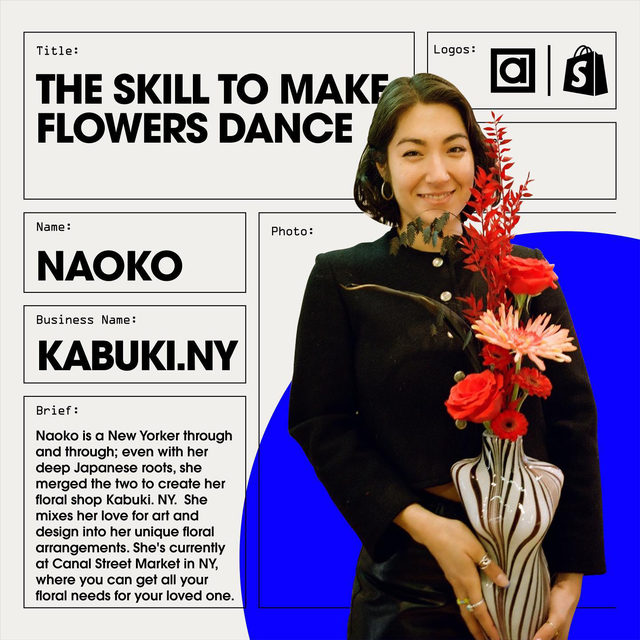 """It's a beautiful thing when someone turns their love for a craft into a business. And for Naoko, this couldn't be more true.  The owner of Kabuki.NY, a floral company located at Canal Street Market, Naoko's love for flowers and the arts always ran deep. """"My parents were both in the arts, my dad, a painter, and my mom a musician. So I was always surrounded by creativity, it's in my blood. What got me into floral art, however, was the love that my grandparents shared for flowers. I grew up around flowers - they have always been beautiful to me -and I would look at it as an underrated art form"""".  So in July 2020, in the middle of a global pandemic, Naoko took the plunge and opened @kabuki.ny. """"At the beginning of the pandemic, I was out of a job, and just like everyone else, I was scrambling to figure out what my next thing was. So I took that free time to think about what I'd like to do for my life.""""  Tap the link in bio to learn more about how, even through a pandemic, Naoko took her love for flowers and tur"""
