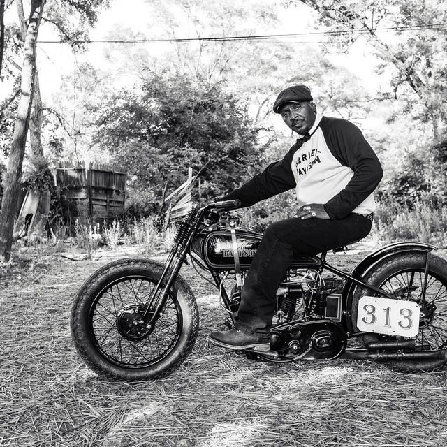 "Randy ""Detroit"" Hayward, a successful builder and vintage racer, is taking his passion for vintage bikes and black history on the road by founding and curating the @traveling_black_history_museum   His diverse collection includes rare photos of William B. Johnson who owned the first Black #HarleyDavidson Dealership, a signed B.B. King guitar and even a pair of Kanye West Shoes."