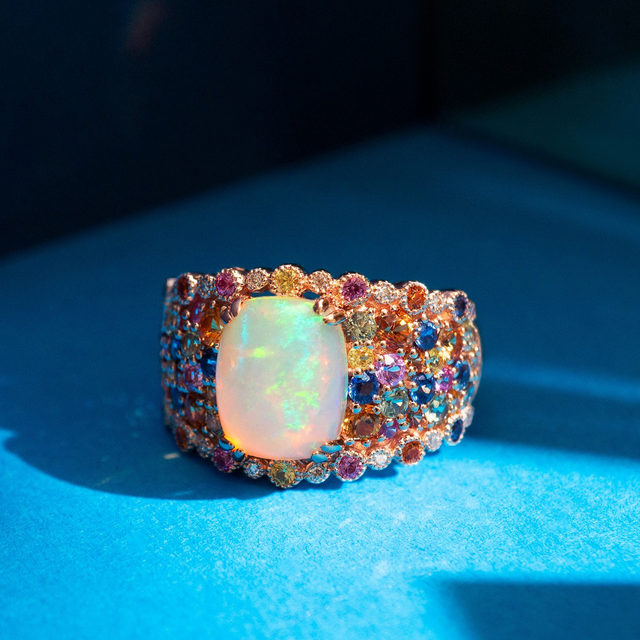 Opals are often considered the most magical of all gems because it displays so many colors simultaneously, resulting in a rainbow-like effect.🌈  Link in bio to shop the ring! #LeVianColors