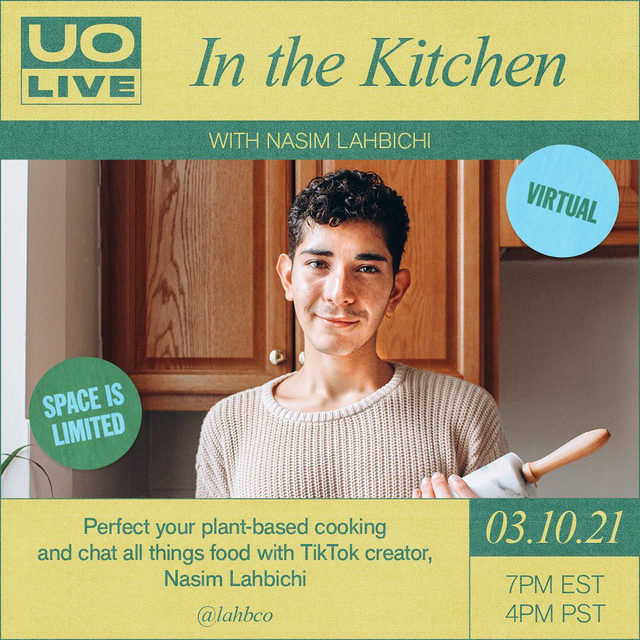 Excited to jump back into the kitchen with TikTok creator and at-home chef @lahbco this Wednesday, 3/10! 🥰 RSVP for this free and exclusive plant-based cooking class at the link in bio. Be sure to tag a foodie friend in the comments! #UOLive