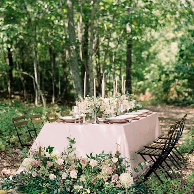 Could someone have this permanently installed in their backyard? Asking for a friend. 😉 Plush velvet, bistro chairs, and lush greenery,  this tablescape is the perfect garden party setup! Featuring our Cameo Velvet Table Linen and Rose Quartz Velvet Napkin. Use the link in our bio to start planning your garden soiree with these beautiful linen.  _________ Credits: Planner & Venue: @theivyrosebarn Photography: @nicolecolwellphotography Floral: @floralsbykimberly Rentals: @the_heirloom_collection