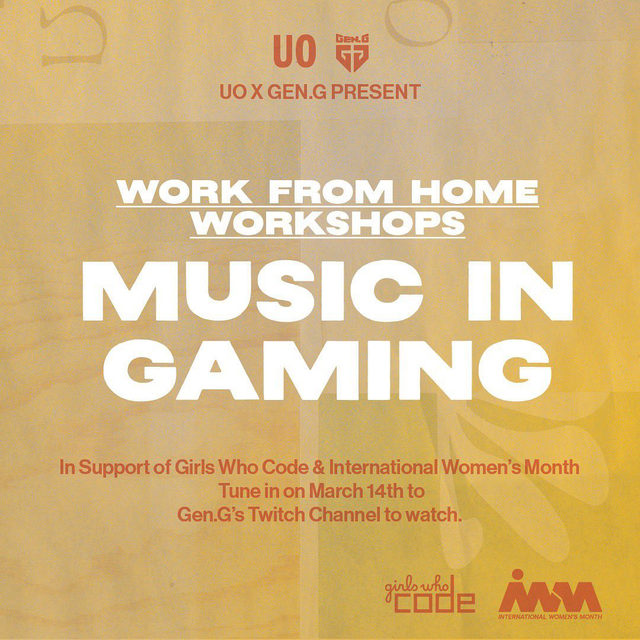 We're so excited to partner with @gengesports for two Work from Home WORKshops in honor of International Women's month! Featuring all women panelists on Gen G's Twitch channel, these charity streams will benefit @GirlsWhoCode to support and increase the number of women in computer science. Tune in on March 14th for a WORKshop on music in gaming with @sosupersam, @mxmtoon, and @abbyjasmine, and on March 15th for a WORKshop on beauty in gaming with @emily.ghoul and @krystalogytv.