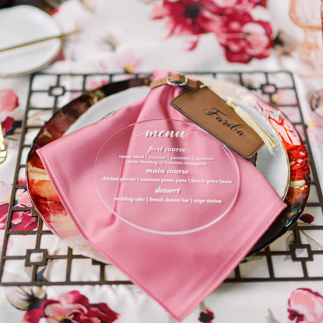 When all of the elements come together to create an exquisitely stunning place setting. 💕 A perfect example of layering done right! By incorporating different materials and textures, you can instantly transform your design into something dimensional and uniquely yours. Featuring our Abigail Floral Shantung Table Linen, Rose Lamour Napkin, Bronze Deco Petal Placemat, and Scoria Garnet Charger. Visit the link in our bio to view more of these breathtaking products.  _________ Credits:  Planner: @jessicaashleyevents @pentopaperevents Photographer: @hannahbjorndal Floral: @houseofredman Rentals: @smthingvintage Paper Goods: @artisanmatchmaker Venue: @raspberryplainmanor