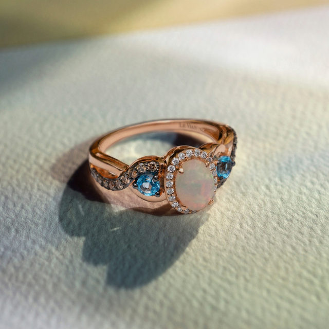 Fine jewelry should be fun! Mix metals and stones until you find a piece that's as unique as you are!  #LeVianColors  Link in bio to shop this opulent opal ring!