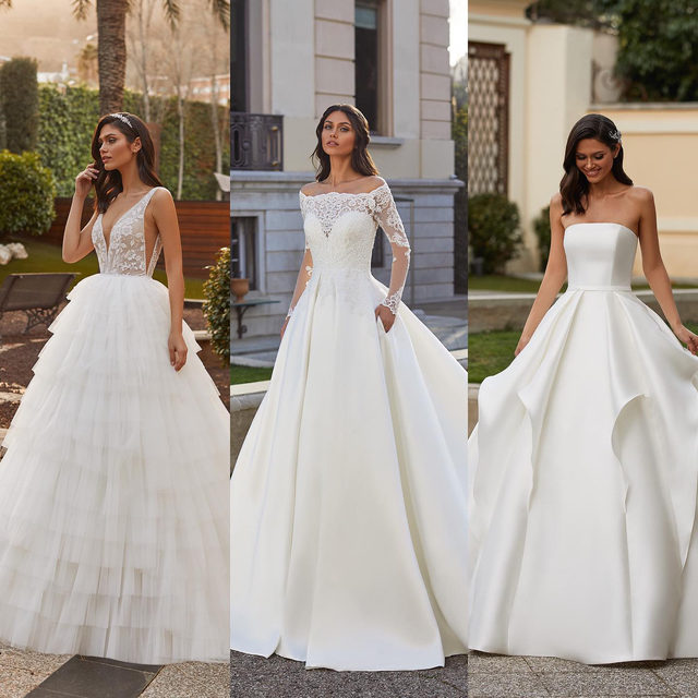 Do you love volumes? If you're thinking YES, these are 3 spectacular princess dresses for very romantic brides. Which one would you choose? 1, 2 or 3? #Pronovias (Dresses: Gabby, Geraldine, Florian).