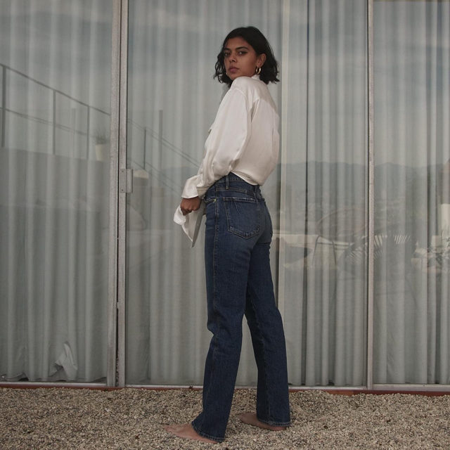The most iconic FRAME outfit: white silk button-up and the perfect straight jean. Now on sale during the 25% Off Sitewide Friends & Family Sale.
