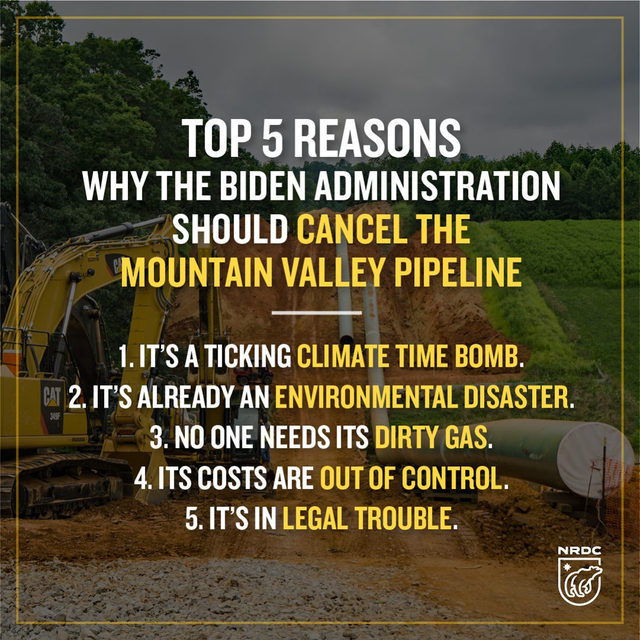 "The #MountainValleyPipeline has already harmed clean waters, local communities, and ecological resources to the tune of over $2 million in penalties for 350+ environmental violations. It has been called ""the most expensive proposed pipeline in the United States on a cost per mile basis."" 🤯  Virginians deserve more good paying clean energy jobs instead of dirty and dangerous fossil fuel projects. 👷🏽 The Commonwealth already has over 97,000 clean energy jobs with wages that are 7% higher than the state's median wage. By halting Mountain Valley Pipeline, the Biden administration has the opportunity to help double down on investments in clean energy infrastructure and create safe, good-paying jobs.   Visit the link in our bio to learn more about the top 5 reasons to #StopMVP!  [Image description: Graphic with picture of pipeline being built in the background. Text overlaid: Top 5 reasons why the Biden administration should cancel the Mountain Valley Pipeline: 1. It's a ticking climate time bomb. 2. It's already a"