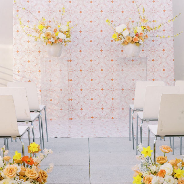 Ummmm....WOW 🤯 Our #freyalinen in Saffron makes an incredible ceremony backdrop! 💯@36thstreetevents and @blumenfloral created a magical #intimatewedding with the most amazing details 📷 @paigevaughnphoto  #latavolalinen #transformyourtable #bbjlt #bettertogetherbbjlt #brightcolors #livecolorfully #colorfulwedding #modernbride #modernwedding #austin #austintx #texaswedding #texasbride
