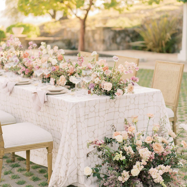 That magical moment when an idea for a design becomes reality. 💕 We love seeing the beautiful works of art our creative partners come up with. This beauty is no exception! The soft colors and breathtaking florals effortlessly emanate both romance and grace. Featuring our Sand Eleuthera Table Linen and Burnished Lilac Sonoma Napkin. Visit the link in our bio to start planning your event with these beautiful linen. _________ Credits:  Planner: @hawthorneandpoppy Photographer: @paigevaughnphoto Floral: @ashandoakfloral Rentals: @theonicollection Paper Goods: @pensandneedlesco Venue: @distinctlocations