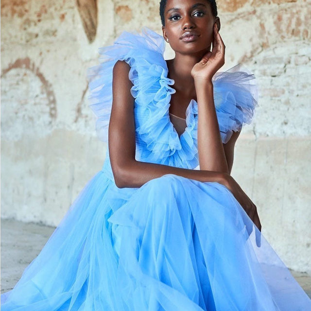 Blue ruffles because it is Springtime! (TR Style 158) Have you found the perfect dress for this season's celebrations? Visit the store & try on our #ThePartyEdit dresses!