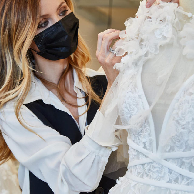 Creative Director & Co-founder of Marchesa, Georgina Chapman, working on one of the artpieces from the new #MarchesaForPronovias collection. In stores in April: book your appointment now. @marchesabridal @georginachapmanmarchesa