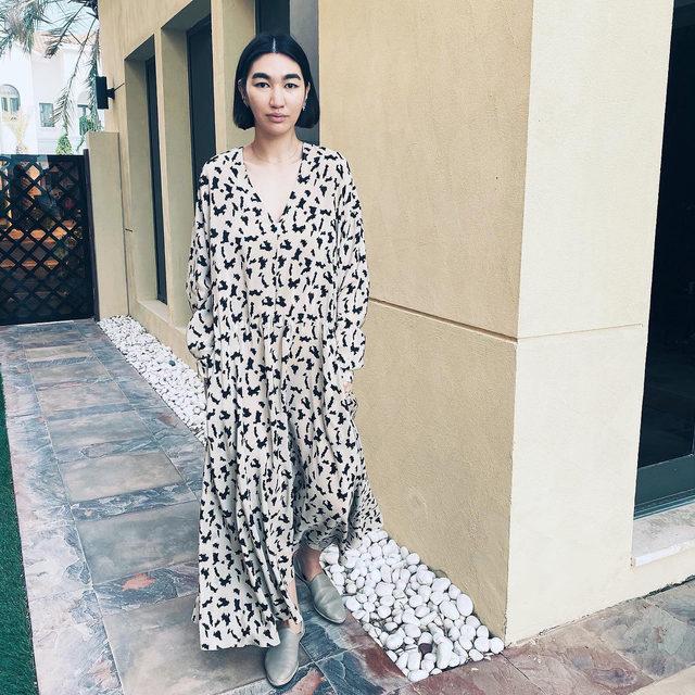 Camo-bat print 🖤 @meruyertabdir wears our drawstring print silk dress #regram