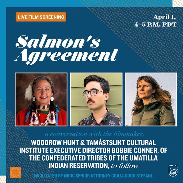 "Salmon have always kept their word. Year after year since time immemorial, the anadromous fish have returned to their home tributaries to spawn and give their lives for future generations.   🌊 Join us in partnership with @confluencenw this Thursday, April 1st, from 4-5 P.M. PT for a LIVE screening of ""Salmon's Agreement."" The short film from Filmmaker, Woodrow Hunt (Klamath/Modoc, Cherokee) weaves together Indigenous stories and perspectives from the Columbia River that illuminate our relationship with a fish that remains a cultural lifeblood to Native people.   The screening  will be followed by a discussion with the filmmaker, Woodrow Hunt and Tamastslikt Cultural Institute Executive Director, Bobbie Conner of the Confederated Tribes of the Umatilla Indian Reservation. The conversation will be facilitated by NRDC Senior Attorney, Giulia Good Stefani.  🌲 Follow the link to bio to RSVP!   [Image: Invitation graphic for ""Salmon's Agreement"" film screening and panel. Pictures of the three panelists, Bobbie Conn"
