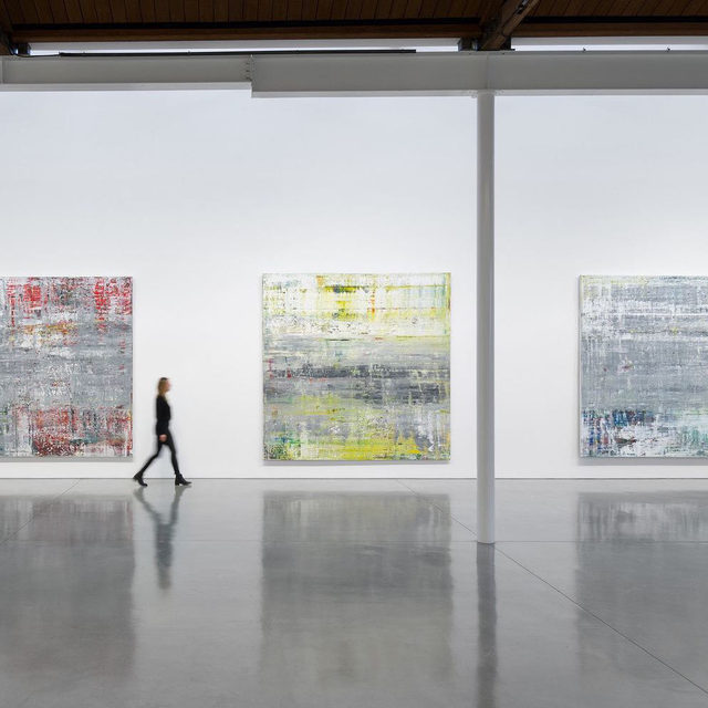"""#GerhardRichter: """"One can see, or rather hear, a great example in John Cage's work of how extensively, cleverly, and sensitively he treats coincidence in order to make music out of it."""" —Gerhard Richter  This is the last week to see an exhibition of Gerhard Richter's """"Cage"""" paintings (2006) at Gagosian, Beverly Hills. The show will then travel to Gagosian, 541 West 24th Street, New York, opening April 19.  The paintings are titled after influential composer, artist, and philosopher John Cage, whose music Richter was listening to when he produced the series. Cage's pursuit of indeterminacy in music has always resonated with Richter, who has compared his own process to the act of arranging musical notes into a score. Follow the link in our bio to learn more.  __________ #Gagosian (1) Installation view, """"Gerhard Richter: Cage Paintings,"""" Gagosian, Beverly Hills, December 3, 2020–April 3, 2021. Photo: Jeff McLane; (2) Gerhard Richter working on one of his """"Cage"""" paintings, Cologne, Germany, 2006. Photo: © Hubert"""