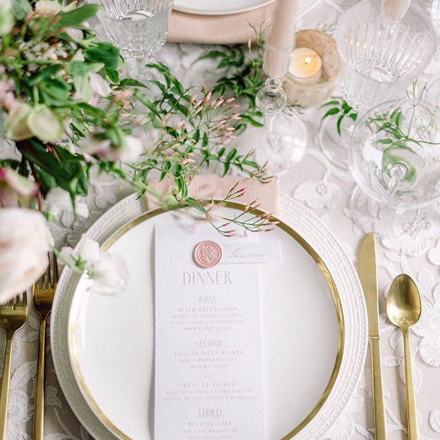 Today may be a day for jokes but we're not fooling around when we say we love this light, romantic table setting. 💖The soft and delicate details along with the coordinating gold flatware and plate have our eyes seeing hearts. Featuring our Bone Faille Table Linen, Blooming Lace Overlay, and Flax Faille Napkin. Use the link in our bio to see more of these beautiful products.  _________ Credits: Planning: @soireesandrevelry Photographer: @brookeallisonphoto  Florals: @cwfloraldesign Rentals:  @Peakeventservices Paper Goods: @blushwaters Venue: @dariendca