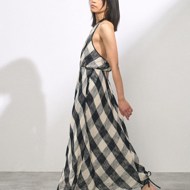 Halterneck backless open-weave check cotton dress.  Link in bio. #Raey
