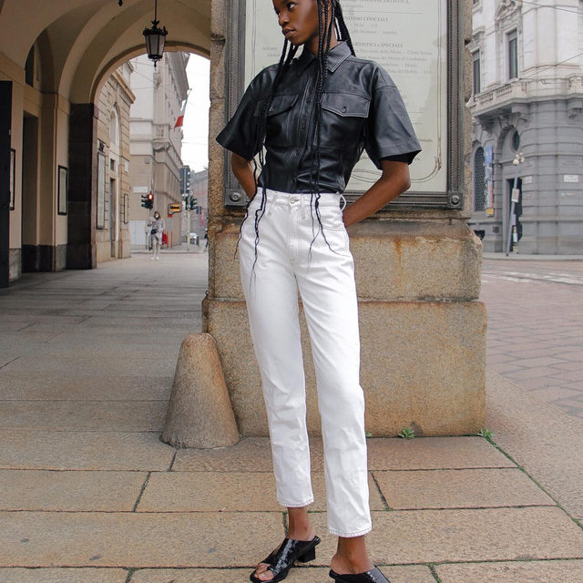 Oh, the places @lamich.kirabo will go wearing Arie Leather Top, Le Italien Straight and Le Beachwood Sandal.
