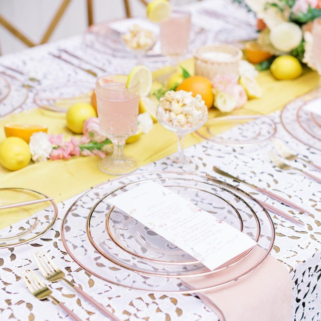 It's impossible not to smile when you see a tablescape as cheerful as this beauty! ☀️ Full of bright and sunny colors, this design has us singing sunshine, lollipops, and rainbows! Featuring @latavolalinen Charlotte White Table Linen, our Daffodil Graceful Runner, and Cameo Velvet Napkin. Use the link in our bio to start planning your own sunny soiree!  _________ Credits: Planner: @bellasposaevents Photography: @shaunaandjordon Florals: @gatherandgracedesigns Rentals: @treasuryrentals Paper Goods: @andimejia.co Venue: @paradisecoveorlando