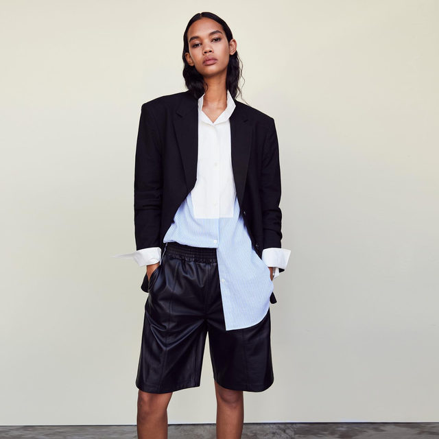 How to dress like you're about to get a promotion: c-suite blazer with sharp lines, smart button-up in colorblocked dress stripes, and modern gym shorts designed in a paperthin traceable leather.