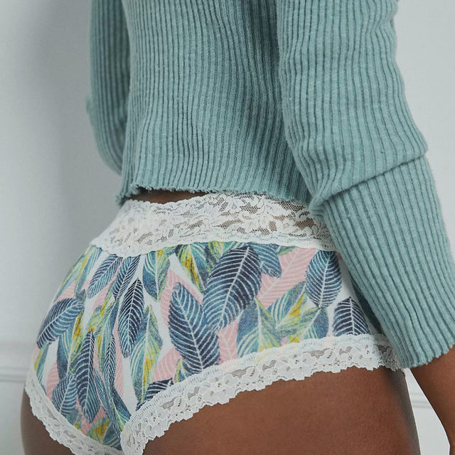 Taking you to the tropics in Tropical Leaf rayon jersey #hankypanky  (cc: @anthropologie)