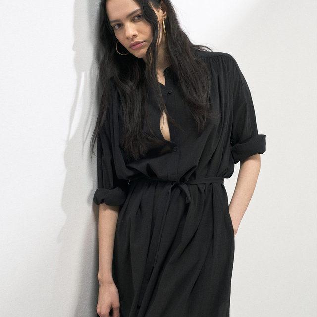 Tie-waist sheer cotton-voile shirt dress 🖤  Link in bio. #Raey