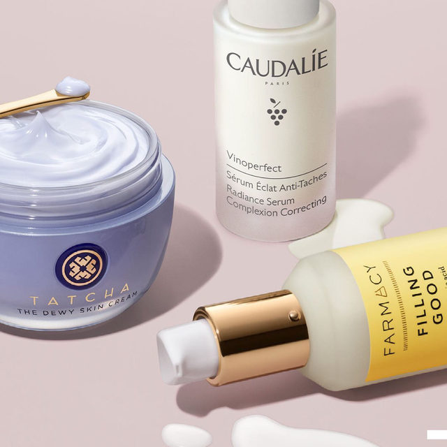Meet powerhouse skincare for your 40s and 50s 💖 Tackle wrinkles, dryness, and other visible signs of damage with retinol and hyaluronic acid—these picks from @tatcha, @caudalieus, and @farmacybeauty put in the work 💪🏽💪🏿💪🏻  @tatcha Tatcha The Dewy Skin Cream Plumping & Hydrating Moisturizer  @caudalieus Caudalie Vinoperfect Anti Dark Spot Serum  @farmacybeauty Farmacy FILLING GOOD hyaluronic acid plumping serum