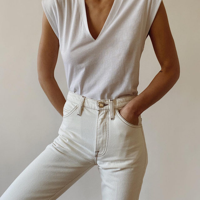 It's a 50 shades of white kind of day. @modedamour wearing High Rise V Neck and Le Italien Straight in Blanc.