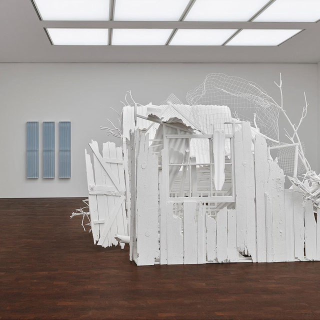"#RachelWhiteread: ""Internal Objects,"" an exhibition of new work by Rachel Whiteread, opens today at Gagosian, Grosvenor Hill, London.  In this exhibition, the suggestion of haunting, or ghostliness, is manifested in a new way. In ""Detached 1,"" ""Detached 2,"" and ""Detached 3"" (all 2012), which she installed at Gagosian London in 2013, Whiteread rendered the empty interiors of three garden sheds in concrete and steel. Now, in ""Internal Objects,"" she has again created cabin-like structures but has, for the first time, eschewed casting existing objects in favor of building original ones. ""Poltergeist"" (2020) and ""Döppelganger"" (2020–21), which occupy the two main rooms of the gallery, are made of found wood and metal that has been meticulously overpainted in white household paint. The exhibition also features a new body of sculptures in resin and new works on paper, as well as recent cast sculptures in bronze. Follow the link in our bio to learn more or to schedule an appointment. __________ #Gagosian @rachelwhite"
