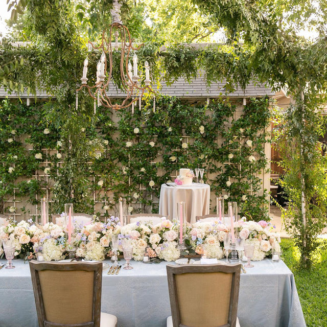A striking canopy of greenery paired with stunning chandeliers and a dreamy table with the softest spring blooms. Every detail of this beautiful intimate backyard celebration has us swooning.💙 Featuring our Placid Chateau Table Linen. Use the link in our bio to see more of this timeless linen.  _________ Credits: Planner: @pop_parties Photography: @johncainphotography Florals: @bfive Rentals @bellaacento