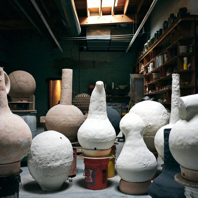 "#GagosianQuarterly: ""I remember this feeling of camaraderie and friendship as we fired the kiln, and I remember thinking, 'Clay made it possible for us to have to spend twenty-four hours with each other.'"" —Theaster Gates  Head to ""Gagosian Quarterly"" to watch a recent studio visit with Theaster Gates, filmed as he prepared for his exhibition ""Black Vessel"" at Gagosian, New York.  Gates promotes the vessel as a container of the concrete, the symbolic, and the spiritual—a metaphor for embodied existence or a means by which to gather communities together in time and space. For him, the clay vessel is a universal object of ritual significance. In a diverse group of unique large-scale works in glazed and fired clay, his evident formal virtuosity unites ancient traditions with modernist aesthetics, and draws elective affinities between Eastern, Western, and African techne. Follow the link in our bio to watch the video or message us for info on Gates's ceramic vessels. __________ #TheasterGates #Gagosian @theasterg"