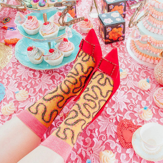 Zandra blazed the trail, and we're following down the same r(h)ode. 〰 🚩  Meet the Queen of Colour 👉 HappySocks.com  #HappySocksxZandraRhodes #QueenOfColour #HappySocks #HappinessEverywhere