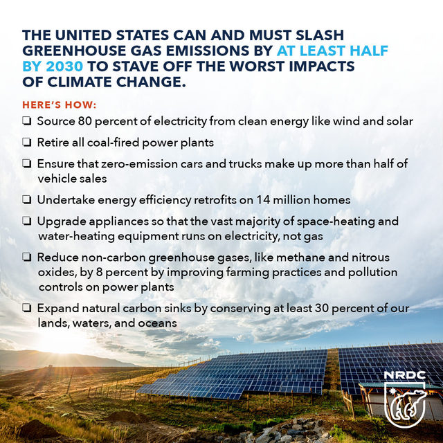 Cutting U.S. greenhouse gas emissions at least 50 percent by 2030 is within our reach. 🌎 A recent NRDC report outlines tactics to achieve that target by decade's end through a combination of clean energy, energy efficiency, and electrification strategies, as well as improving the planet's natural carbon sinks and reducing non-carbon emissions.⚡ Now that we know it's possible, all levels of U.S. society must rise to the challenge by investing collectively in technology, infrastructure planning, permitting, and construction. The good news is that meeting this goal won't just stave off the climate crisis; it will help create jobs, revitalize the economy, support healthy, resilient communities, and protect wildlife and their habitats. Take a deeper dive into NRDC's report detailing how the United States can cut climate pollution more than 50 percent by 2030 via the link in bio. ⤴   #AllInFor50 #ClimateAction #ClimateChange #BidenAdmin #FederalClimateAction #50x30 #Emissions #30x30   [Image description: The image
