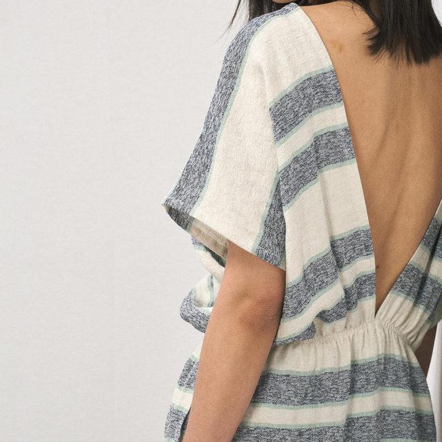 Striped backless linen tunic dress   Link in Bio. #Raey