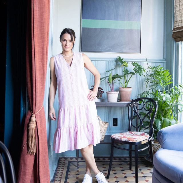 """""""My job has always been to put things together in a pleasing way — there's not much more to it than that!"""" says interior designer @sararuffincostello, pictured here at the Chloe Hotel in New Orleans, where she lives with her husband and three children. """"We have nine chickens and a cat named Sparkly too!"""""""