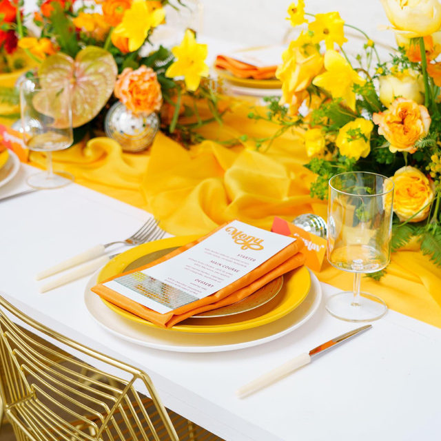 How about some sunshine to start your week! ☀️We absolutely love bright and bold color choices! This stunning tablescape perfectly demonstrates that bold is beautiful and should never be shied away from. Featuring our Daffodil Graceful Runner and Melon Bengaline Napkin. Use the link in our bio to plan your own beautiful party with these amazing products.  _________ Credits: Planner: @anythingbutgrayevents Photography: @peterson.design.photo Florals: @flowersbyladybuggs Rentals: @lapinataparty, @papillonrentals Paper Goods: @rosevilledesigns Venue: @theeastangel