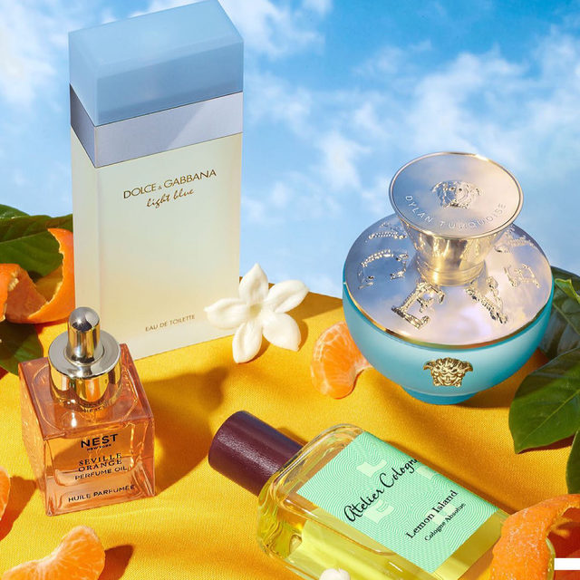 When life gives you citrus, we can only hope it's as nice as these citrusy scents to live in 🍋🍊 Which is calling to you? . . .  DOLCE&GABBANA Light Blue Eau de Toilette  @versace Dylan Turquoise Pour Femme  @nestfragrances Seville Orange Perfume Oil  @ateliercologne Lemon Island Pure Perfume