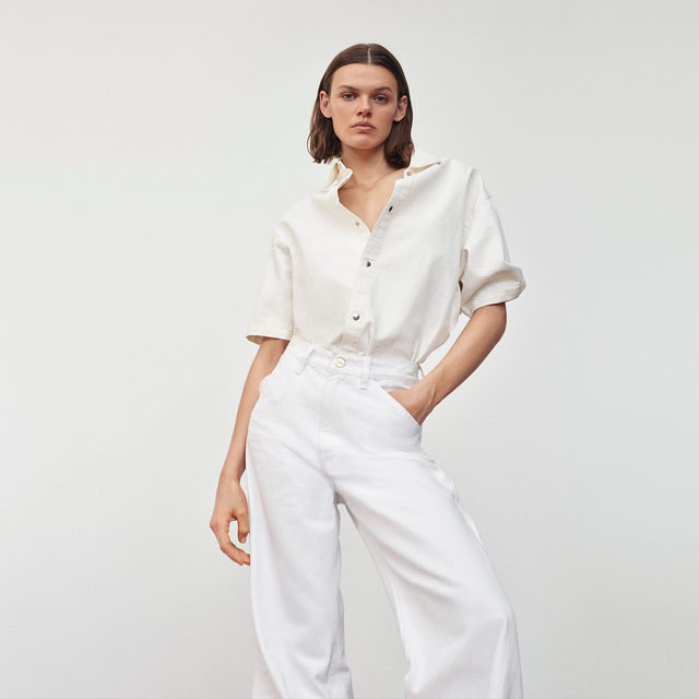 Hot tip: pair your favorite pair of white denim with a summery off-white top for a more subdued take on the white-on-white trend.